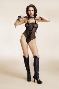 Body czarne bodystocking czarny gorset jamais vu Lea...