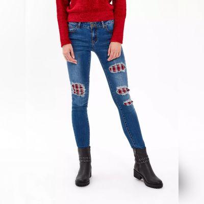 Spodnie Jeansy z łatami 36 S