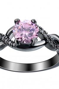Nowy czarny pierścionek różowa cyrkonia oczko elegancki wiktori...