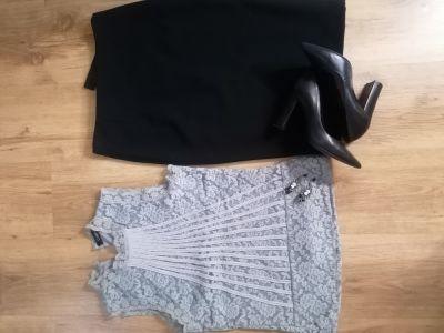 Do pracy Spodnica ołowkowa Zara i Koronkowa bluzka