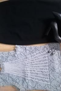 Spodnica ołowkowa Zara i Koronkowa bluzka