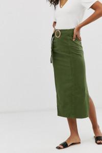 Spódnica midi zielona ASOS z zamkiem rozmiar XS na S