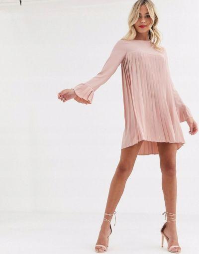 Suknie i sukienki Sukienka plisowana na długi rękaw rozmiar M
