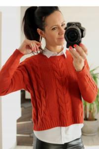 Sweter ceglany warkocze uniwersalny...