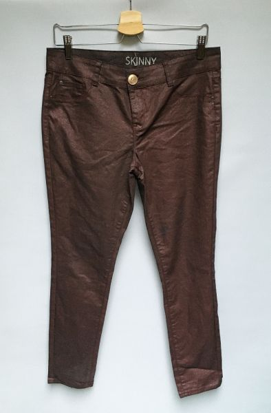 Spodnie Spodnie Woskowane Brokatowe Skinny George L 40 Bordowe