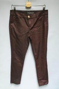Spodnie Woskowane Brokatowe Skinny George L 40 Bordowe...