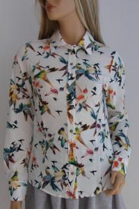 bluzka koszula Vintage ptaki dopasowana 36 print...