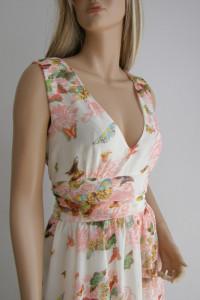 Sukienka M kwiaty długa lato zwiewna wesele...