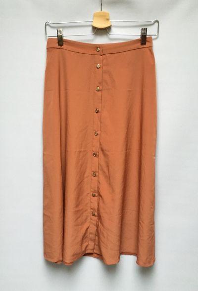 Spódnice Sukienka Pomarańczowa Long Rozkloszowana S 36 Złote Guziki