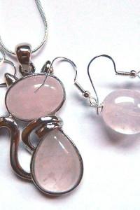 Kwarc różowy kamień miłości piękna biżuteria zestaw...