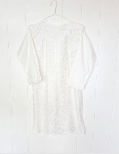 Tuniki Nowa biała tunika indyjska S 36 M 38 bawełna haft biel kwiaty boho hippie etno kameez kurta Bollywood