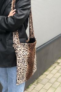 Torba torebka na ramię tote bag futrzana futrzasta vintage leop...