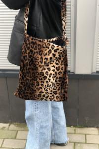 Torba torebka na ramię tote bag futrzana futrzasta vintage pant...