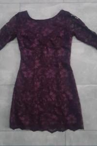 New Look elegancka koronkowa sukienka fiolet 36...