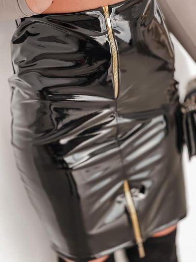 Spódnice Piękna spódnica lateksowa czarna i camel PRODUKT POLSKI