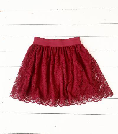 Spódnice Bordowa spódniczka koronkowa