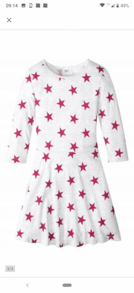 Sukienki i spódniczki Nowa rozkloszowana sukienka w gwiazdki rozmiar 164