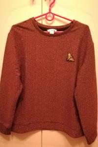 świecący sweter z broszką...