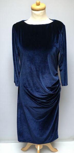 Suknie i sukienki Sukienka Granatowa Welurowa Welur XL 42 Floyd Marszczona
