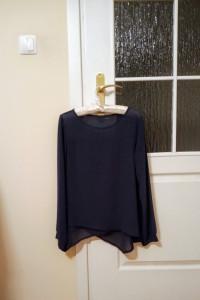 Włoska granatowa bluzka elegancka L