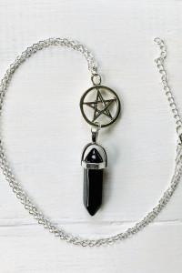 Naszyjnik goth wiedźma amulet talizman obelisk pentagram onyks
