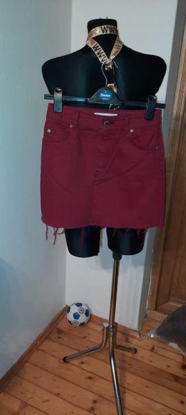 Spódnice Topshop jeansowa mini dół postrzępiony 34