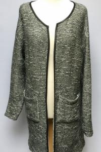 Sweter Fransa M 38 Narzutka Srebrna Nitka Kardigan Melanż...
