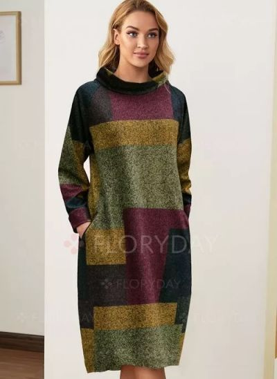 Suknie i sukienki Sukienka Midi kolorowa z dlugim rekawem 44 46