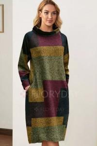 Sukienka Midi kolorowa z dlugim rekawem 44 46...