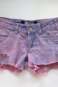 Szorty spodenki Xs S 34 36 diy ćwieki wybielane marmurkowe postrzępione nogawki rock punk dziury różowe