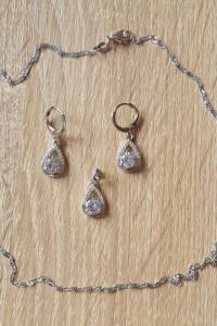 Nowy komplet biżuterii kolczyki wisiorek łańcuszek cyrkonie srebro 925 srebrny