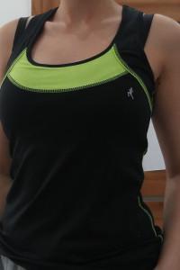 Czarno zielona bluzka sportowa na ramiączkach...