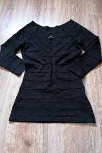 Sweter bandażowy metaliczny czarny orsay 34xs...