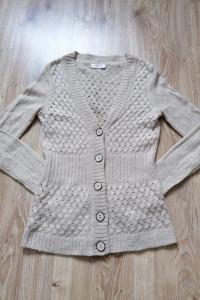 Beżowy sweter ażur kardigan guziki orsay xs34 jesień zima...