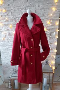 Płaszcz czerwony zimowy wiązany 70 wełny 36 S...