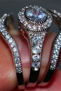 Zestaw trzech pierścionków nowy pierścionek srebrny kolor obrączki cyrkonie