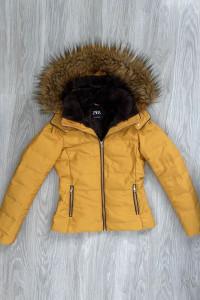 Zara musztardowa kurtka zimowa XS pierze kaptur kozuszek