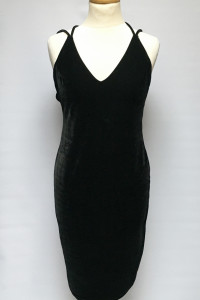 Sukienka Czarna Welurowa Welur Bik Bok M 38 Odkryte Plecy...
