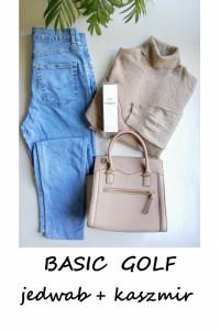 Kawowy golf jedwab kaszmir L XL XXL basic minimalizm...