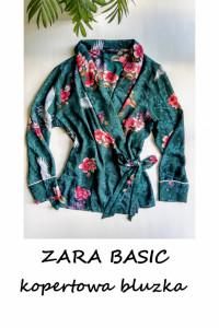 Kopertowa bluzka Zara Basic kimono z wiązaniem M L...