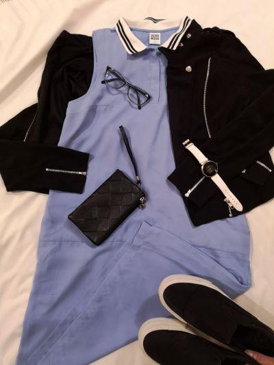 Do pracy Błękitna sukienka Vero Moda