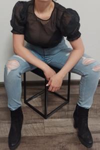 Jeansowe spodnie z wysokim stanem i przetarciami H&M rozm 38...
