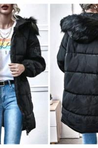 Nowa Przedłużana kurtka z kapturem z futerkiem ciepła zimowa