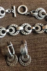Przepiękny srebrny komplet kolczyki i bransoletka 925