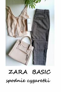 Spodnie cygaretki Zara Basic w kratkę XS S...
