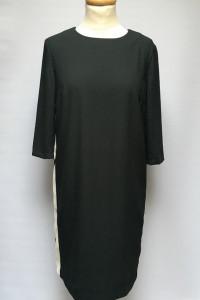 Sukienka H&M Czarna Białe Wstawki M 38 Prosta Wizytowa...