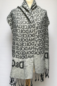 Szalik D&G Logowany Dolce Gabbana Szary Szal Frędzle...