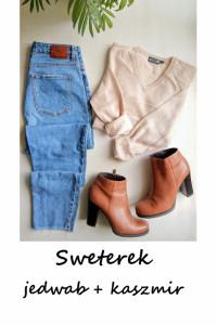 Beżowy sweter basic jedwab kaszmir S M L