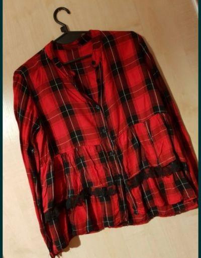Koszule Krata czerwono czarna baskinka falbanka