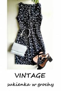Sukienka w grochy vintage pin up bawełniana XS S...